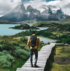 Teen on mountain path in Argentina