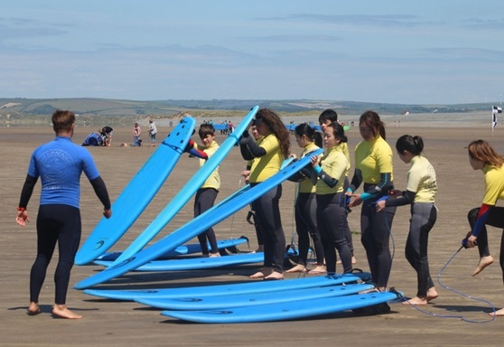 Surfing lessons at Kingsley School